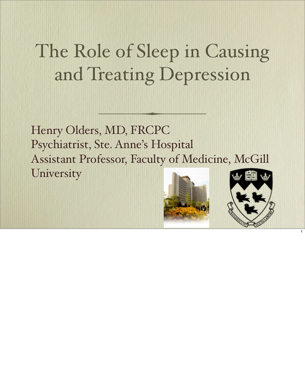The Role of Sleep in Causing and Treating Depression